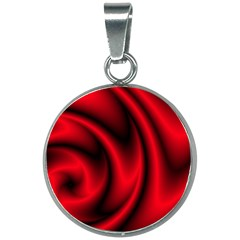 Background Red Color Swirl 20mm Round Necklace