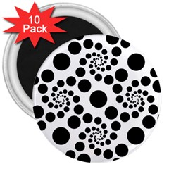 Dot Dots Round Black And White 3  Magnets (10 Pack)
