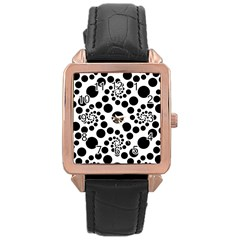 Dot Dots Round Black And White Rose Gold Leather Watch  by Pakrebo