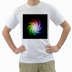 Rainbow Swirl Twirl Men s T Shirt (white)  by Pakrebo