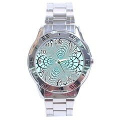 Digital Art Fractal Abstract Stainless Steel Analogue Watch by Pakrebo