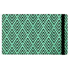 Chevron Pattern Black Mint Green Apple Ipad 2 Flip Case