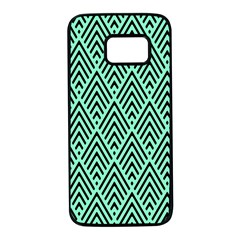 Chevron Pattern Black Mint Green Samsung Galaxy S7 Black Seamless Case