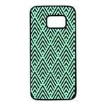 Chevron Pattern Black Mint Green Samsung Galaxy S7 Black Seamless Case Front