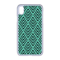 Chevron Pattern Black Mint Green Apple Iphone Xr Seamless Case (white)