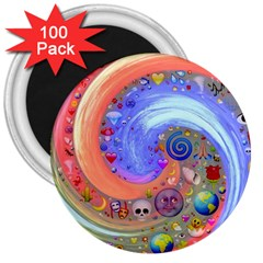 Swirl Vortex Emoji Cyclone Motion 3  Magnets (100 Pack) by Pakrebo