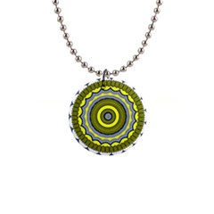 Mandala Pattern Round Ethnic 1  Button Necklace