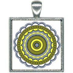 Mandala Pattern Round Ethnic Square Necklace by Pakrebo