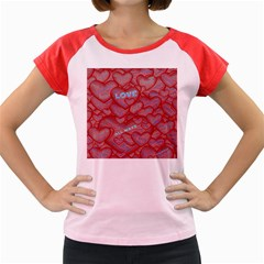 Love Hearts Valentine Red Symbol Women s Cap Sleeve T Shirt