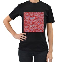 Love Hearts Valentine Red Symbol Women s T Shirt (black) (two Sided)