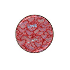Love Hearts Valentine Red Symbol Hat Clip Ball Marker (10 Pack)