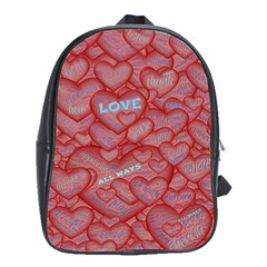 Love Hearts Valentine Red Symbol School Bag (large)