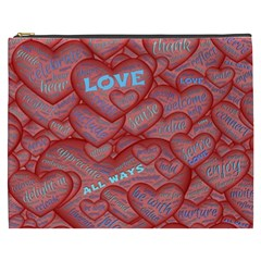 Love Hearts Valentine Red Symbol Cosmetic Bag (xxxl)