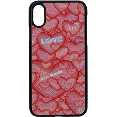 Love Hearts Valentine Red Symbol Apple Iphone Xs Seamless Case (black)
