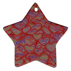 Love Hearts Valentines Connection Ornament (star)