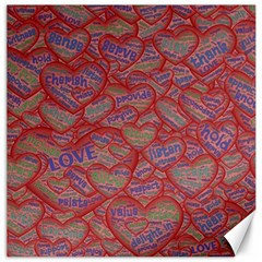 Love Hearts Valentines Connection Canvas 12  X 12  by Pakrebo
