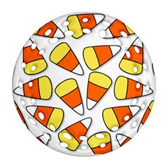 Candy Corn Halloween Candy Candies Round Filigree Ornament (two Sides)