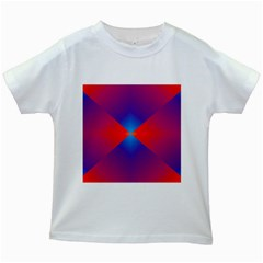 Geometric Blue Violet Red Gradient Kids White T Shirts by Alisyart