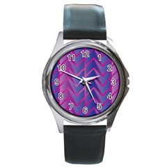 Geometric Background Abstract Round Metal Watch