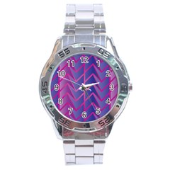 Geometric Background Abstract Stainless Steel Analogue Watch
