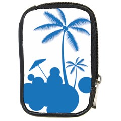 Fresh Blue Coconut Tree Compact Camera Leather Case by Alisyart