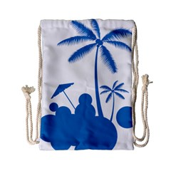 Fresh Blue Coconut Tree Drawstring Bag (small) by Alisyart