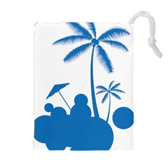 Fresh Blue Coconut Tree Drawstring Pouch (xl) by Alisyart