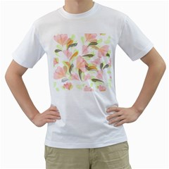 Flower Floral Men s T Shirt (white) (two Sided)