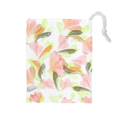 Flower Floral Drawstring Pouch (large)