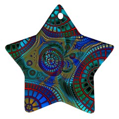Fractal Abstract Line Wave Unique Ornament (star)