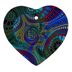 Fractal Abstract Line Wave Unique Heart Ornament (two Sides) by Alisyart