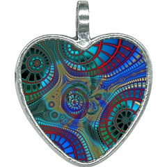 Fractal Abstract Line Wave Unique Heart Necklace by Alisyart