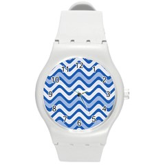 Waves Wavy Lines Pattern Round Plastic Sport Watch (m) by Alisyart