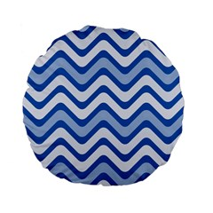 Waves Wavy Lines Pattern Standard 15  Premium Flano Round Cushions
