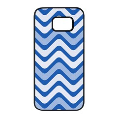 Waves Wavy Lines Pattern Samsung Galaxy S7 Edge Black Seamless Case by Alisyart