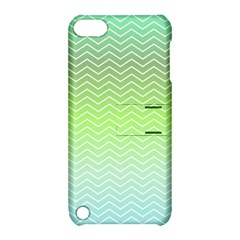 Green Line Zigzag Pattern Chevron Apple Ipod Touch 5 Hardshell Case With Stand