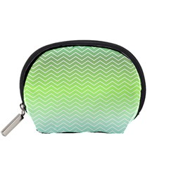 Green Line Zigzag Pattern Chevron Accessory Pouch (small)