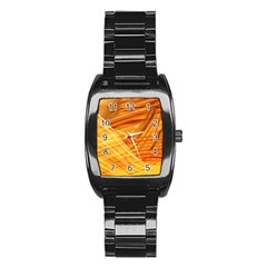 Wave Background Stainless Steel Barrel Watch
