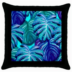 Leaves Tropical Palma Jungle Throw Pillow Case (black) by Alisyart