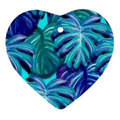 Leaves Tropical Palma Jungle Heart Ornament (two Sides) by Alisyart