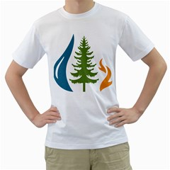 1  Forest Christmas Tree Spruce Men s T Shirt (white) (two Sided)