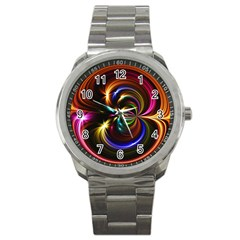 Abstract Line Wave Sport Metal Watch