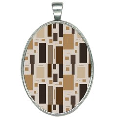 Background Wall Plaid Oval Necklace by AnjaniArt