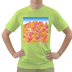 Background Mountains Low Poly Green T Shirt