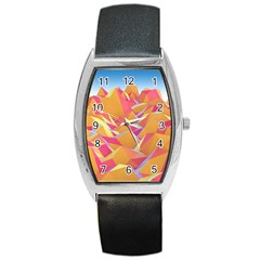 Background Mountains Low Poly Barrel Style Metal Watch