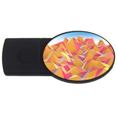 Background Mountains Low Poly Usb Flash Drive Oval (4 Gb)