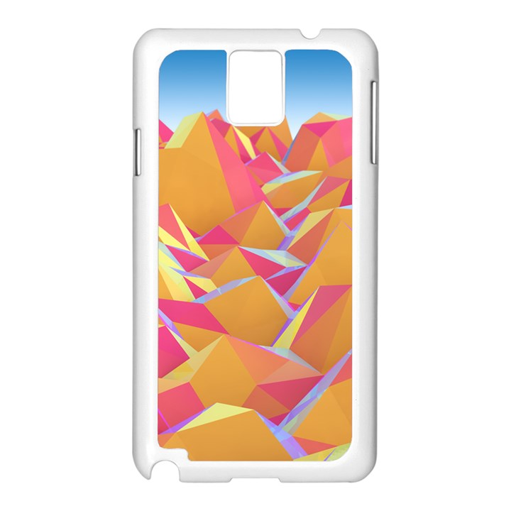 Background Mountains Low Poly Samsung Galaxy Note 3 N9005 Case (White)