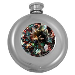 Abstract Texture Round Hip Flask (5 Oz) by AnjaniArt