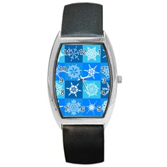 Background Blue Decoration Barrel Style Metal Watch by AnjaniArt