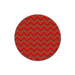 Background Retro Red Zigzag Rubber Coaster (round)  by AnjaniArt